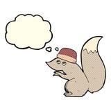 σκίουρος κινούμενων σχεδίων που φορά το καπέλο με τη σκεπτόμενη φυσαλίδα Στοκ φωτογραφία με δικαίωμα ελεύθερης χρήσης