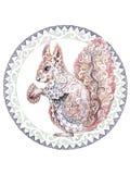 Σκίουρος με τα σχέδια, διακοσμήσεις στον κύκλο, δερματοστιξία, dotwork Στοκ Φωτογραφία