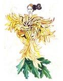 Σκίτσο απεικόνισης της θηλυκής σκιαγραφίας στα φορέματα που δημιουργούνται των ζωηρόχρωμων λουλουδιών Στοκ φωτογραφία με δικαίωμα ελεύθερης χρήσης