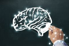 Σκίτσο εγκεφάλου σχεδίων χεριών στον πίνακα Δημιουργήστε έναν γραφικό όπως το τ στοκ φωτογραφία με δικαίωμα ελεύθερης χρήσης