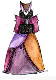 Σκίτσο ενός φορέματος φαντασίας για το θέατρο και τον κινηματογράφο Στοκ φωτογραφία με δικαίωμα ελεύθερης χρήσης