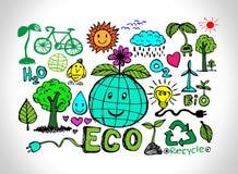 Σκίτσο και Eco φιλικό Doodles ιδέας Eco Στοκ εικόνα με δικαίωμα ελεύθερης χρήσης
