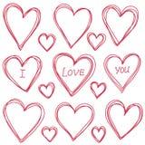 Σκίτσο καρδιών Στοκ εικόνα με δικαίωμα ελεύθερης χρήσης