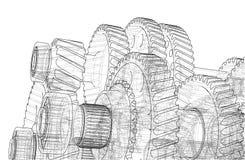 Σκίτσο κιβωτίων ταχυτήτων διάνυσμα απεικόνιση αποθεμάτων