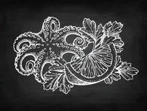 Σκίτσο κιμωλίας θαλασσινών Στοκ φωτογραφία με δικαίωμα ελεύθερης χρήσης