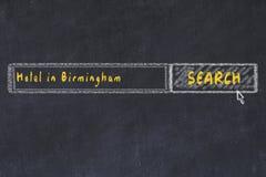 Σκίτσο κιμωλίας της μηχανής αναζήτησης Έννοια της έρευνας και της κράτησης ενός ξενοδοχείου στο Μπέρμιγχαμ απεικόνιση αποθεμάτων
