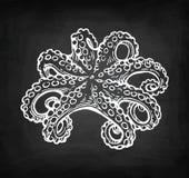 Σκίτσο κιμωλίας χταποδιών Στοκ Εικόνες