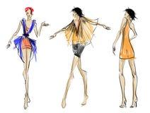 σκίτσο κορίτσια μόδας Στοκ Εικόνα