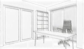 Σκίτσο κτιρίου γραφείων Διανυσματική απεικόνιση