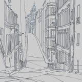 Σκίτσο μιας οδού πόλεων της παλαιάς ευρωπαϊκής πόλης Στοκ εικόνες με δικαίωμα ελεύθερης χρήσης