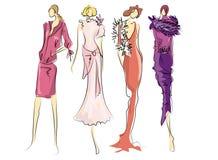 σκίτσο μόδας φορεμάτων Στοκ Εικόνες