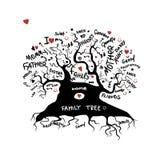 Σκίτσο οικογενειακών δέντρων για το σχέδιό σας απεικόνιση αποθεμάτων