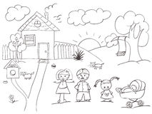 σκίτσο οικογενειακών σπιτιών Στοκ Εικόνες