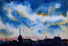 Σκίτσο ουρανού βραδιού διανυσματική απεικόνιση