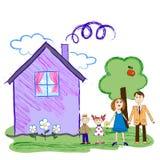 Σκίτσο παιδιών της ευτυχούς οικογένειας με το σπίτι Στοκ φωτογραφίες με δικαίωμα ελεύθερης χρήσης