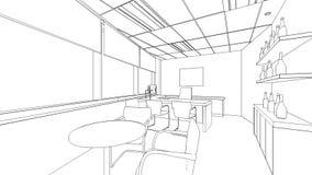 Σκίτσο περιλήψεων ενός εσωτερικού γραφείου Στοκ Φωτογραφία