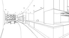 Σκίτσο περιλήψεων ενός εσωτερικού χώρου υποδοχής Στοκ φωτογραφία με δικαίωμα ελεύθερης χρήσης