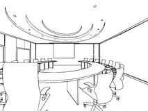 Σκίτσο περιλήψεων ενός εσωτερικού Στοκ Εικόνες