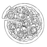 Σκίτσο πιτσών Γρήγορο φαγητό διάνυσμα στοκ εικόνα