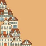 Σκίτσο πόλεων, υπόβαθρο σπιτιών για το σχέδιό σας απεικόνιση αποθεμάτων