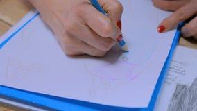 Σκίτσο σχεδίου σχεδίων σχεδιαστών μόδας απόθεμα βίντεο
