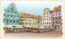 Σκίτσο σχεδίων πόλεων scape στην Πολωνία κεντρικός ελεύθερη απεικόνιση δικαιώματος