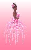 Σκίτσο τέχνης της νύφης με τα ρόδινα λουλούδια Στοκ Φωτογραφία