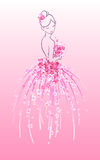 Σκίτσο τέχνης της νύφης με τα ρόδινα λουλούδια Στοκ φωτογραφία με δικαίωμα ελεύθερης χρήσης