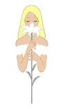 Σκίτσο τέχνης της ξανθής νύφης με το λουλούδι κρίνων Στοκ εικόνες με δικαίωμα ελεύθερης χρήσης