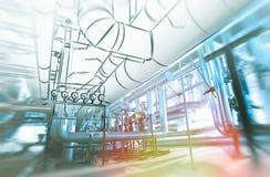 Σκίτσο της έννοιας σχεδίου σωληνώσεων Επίδραση θαμπάδων κινήσεων στοκ φωτογραφίες
