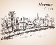 Σκίτσο της Αβάνας Κούβα ελεύθερη απεικόνιση δικαιώματος