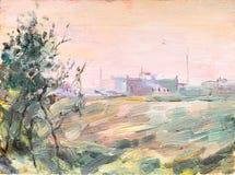 Σκίτσο της ζωγραφικής τοπίων Στοκ Φωτογραφίες