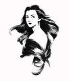 Σκίτσο της νέας γυναίκας με τη σγουρή τρίχα Στοκ Εικόνες