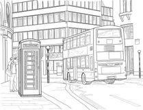 Σκίτσο της οδού του Λονδίνου Στοκ Φωτογραφία