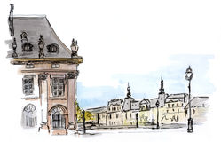Σκίτσο της οδού του Παρισιού διανυσματική απεικόνιση
