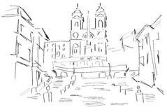 Σκίτσο της πλατείας Di Spagna απεικόνιση αποθεμάτων