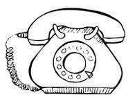 Σκίτσο του αναδρομικού τηλεφώνου που απομονώνεται στο άσπρο υπόβαθρο επίσης corel σύρετε το διάνυσμα απεικόνισης Στοκ Φωτογραφία