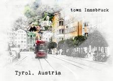 Σκίτσο του αυστριακού ταξιδιού Στοκ Εικόνα