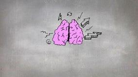 Σκίτσο του εγκεφάλου και των εικονιδίων απεικόνιση αποθεμάτων