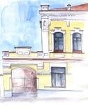 Σκίτσο του κτηρίου πόλεων Στοκ εικόνα με δικαίωμα ελεύθερης χρήσης
