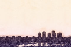 Σκίτσο του ορίζοντα πόλεων ελεύθερη απεικόνιση δικαιώματος
