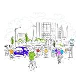 Σκίτσο του δρόμου κυκλοφορίας στην ασιατική πόλη με Στοκ Εικόνες