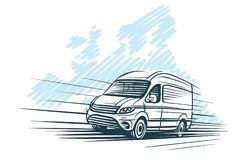 Σκίτσο του φορτηγού μπροστά από το ευρωπαϊκό σκίτσο χαρτών διάνυσμα διανυσματική απεικόνιση