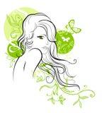 Σκίτσο του όμορφου floral κοριτσιού Στοκ φωτογραφία με δικαίωμα ελεύθερης χρήσης