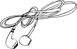 Σκίτσο των ακουστικών για το τηλέφωνό σας Στοκ φωτογραφία με δικαίωμα ελεύθερης χρήσης