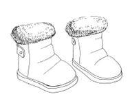 Σκίτσο των μποτών παιδιών ` s Ένα ζευγάρι των παπουτσιών που απομονώνεται στο άσπρο υπόβαθρο επίσης corel σύρετε το διάνυσμα απει στοκ φωτογραφίες
