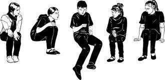 Σκίτσο των παιδιών που παίζουν στην εικασία που στο χέρι σας Στοκ φωτογραφίες με δικαίωμα ελεύθερης χρήσης