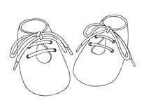 Σκίτσο των παπουτσιών για το μωρό Ένα ζευγάρι των παπουτσιών που απομονώνεται σε ένα άσπρο υπόβαθρο επίσης corel σύρετε το διάνυσ στοκ φωτογραφία με δικαίωμα ελεύθερης χρήσης