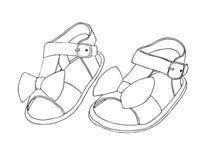Σκίτσο των σανδαλιών παιδιών ` s για τα κορίτσια επίσης corel σύρετε το διάνυσμα απεικόνισης στοκ εικόνες