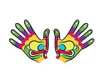 Σκίτσο χεριών για το σχέδιό σας, reflexology μασάζ Στοκ εικόνες με δικαίωμα ελεύθερης χρήσης